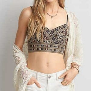 American Eagle Boho Embroidered Mirror Crop Top